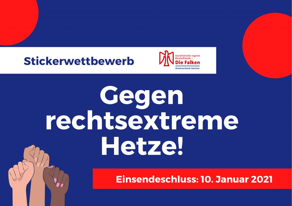 """Vorderseite des Flyers mit Text """"Stickerwettbewerb 'Gegen rechtsextreme Hetze!' mit Einsendeschluss: 10. Januar 2021"""""""